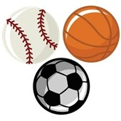 baseball basketball and soccerball