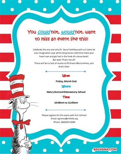 Dr Seuss Event March 2 at Henry Barnard School