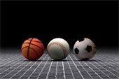 Picture of a basketball baseball and soccer ball