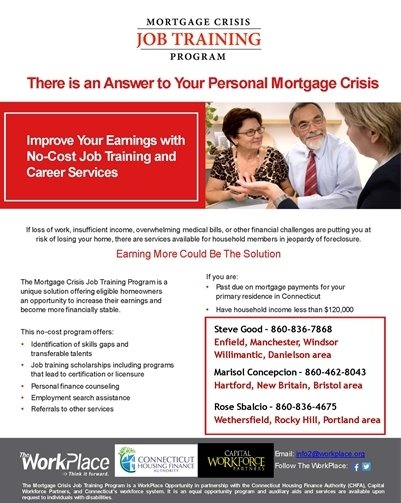 Mortgage Crisis Job Training Program Flyer