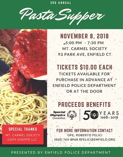 Enfield Police Pasta Supper Flyer