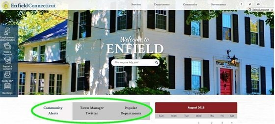 Picture of the homepage of the Town of Enfield Website