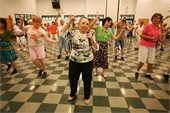 pictures of seniors in an aerobics class