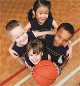 kids and a basketball