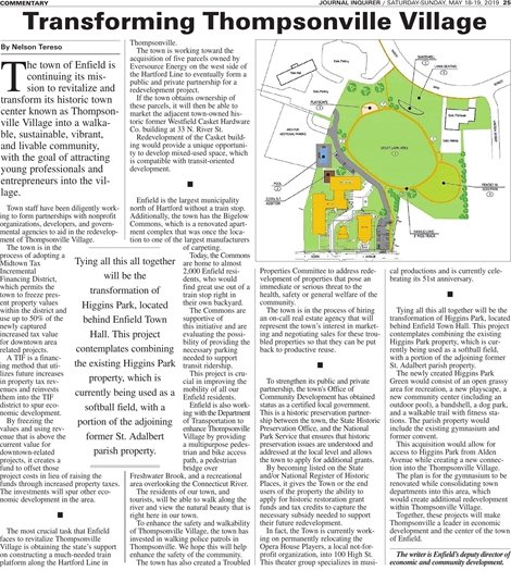 Image of the Article about Transforming Thompsonville Village in the Journal Inquirer