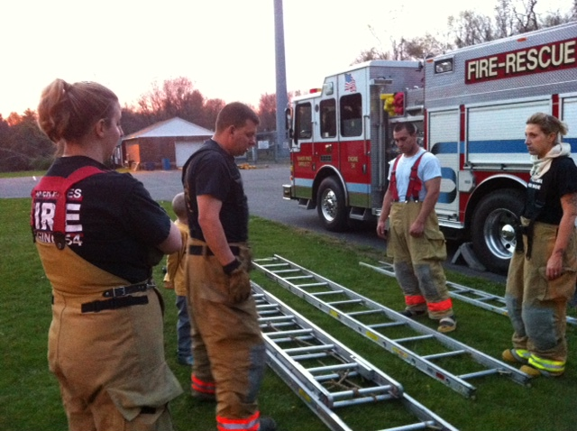 Firefighters train with ladders