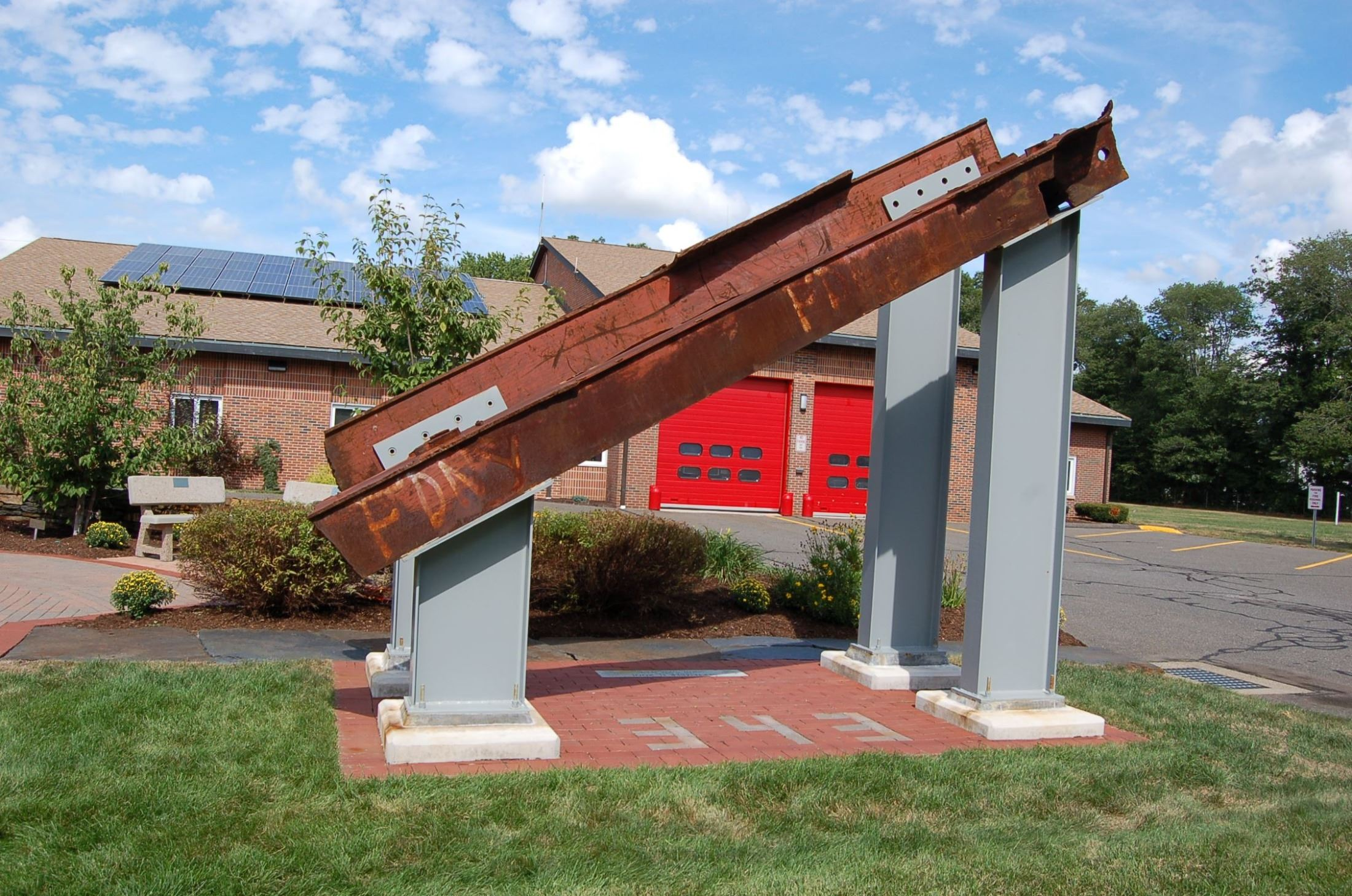 WTC beams now at the 911 Memorial Garden at Enfield Fire Station #2
