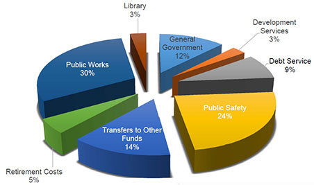 Pie chart depicting the proposed expenditures for 2014-2015