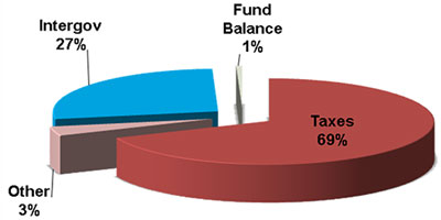 Pie chart depicting the proposed revenue for 2014-2015