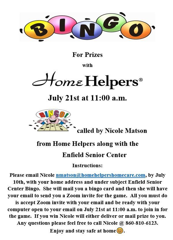 Home Helpers Bingo - July