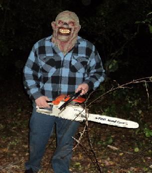 A psychotic lumberjack runs through the trail wielding a chainsaw, probably not for the trees