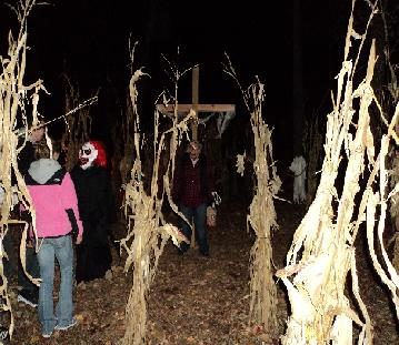 Volunteers wear scary costumes throughout the haunted trail
