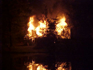 Fire rises behind a tree during a night house fire