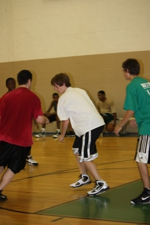 A player gets surrounded by the other team