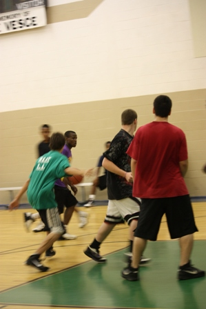 A player tries to get the ball to another team member