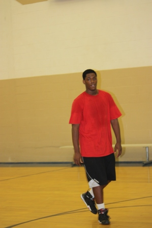 A player walks through the court