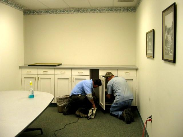 Installing Cabinets at Town Hall