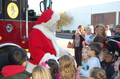 Santa addresses the children of Enfield